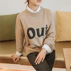 JOAMOM - Drop-Shoulder Lettering Knit Top