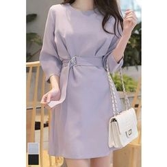 MyFiona - Belted 3/4-Sleeve Mini Dress