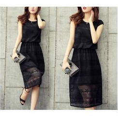 Dowisi - Sleeveless Lace Midi Dress