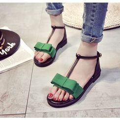 BAYO - Bow Accent T-Bar Sandals