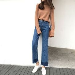 small dots - Fray Wide Leg Jeans
