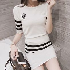 Yohana - Set: Stripe Elbow-Sleeve Sweater + Mini Skirt
