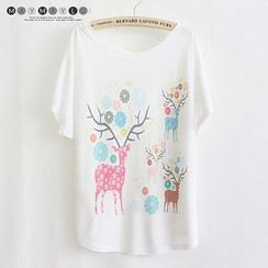 Maymaylu Dreams - Deer Print Crewneck T-Shirt