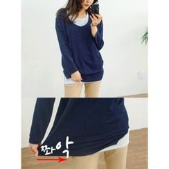 LOLOten - Scoop-Neck Overlay Long T-Shirt