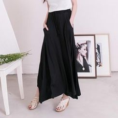 Lucky Leaf - Drawstring Plain Maxi Skirt