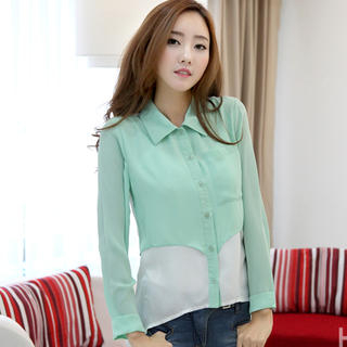 HSTYLE - Color-Block Panel Chiffon Blouse