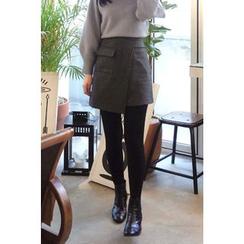 CHERRYKOKO - Flap-Pocket Wool Blend Mini Wrap Skirt
