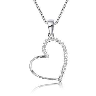 MaBelle - 14K White Gold Diamond-Cut Heart Pendant Necklace (16'')