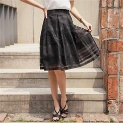 Styleberry - Pleated Patterned Midi Skirt