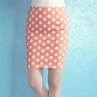 Moonbasa - Polka-Dot Pencil Skirt