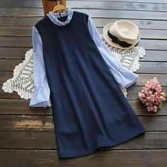 YOYO - Long-Sleeve Panel Frilled Dress