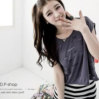 D.P-Shop - Set: Cutout Cropped Top+Striped Long Tank Top