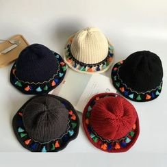 SOCOOL - Tasseled Knit Bucket Hat