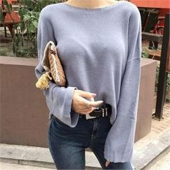 LIPHOP - Boat-Neck Bell-Sleeve Knit Top