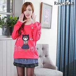 RingBear - Denim Hem Cartoon Pullover