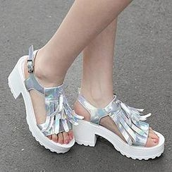 Mancienne - Fringed Chunky-Heel Sandals