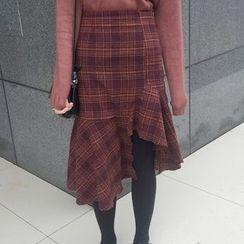 Shiga - 格紋荷葉邊針織裙