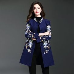 Y:Q - Floral Embroidered Wool Blend Coat