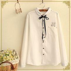 Fairyland - Embroidered Peter Pan Collar Shirt