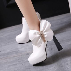 Pretty in Boots - Embellished Bow High-Heel Ankle Boots