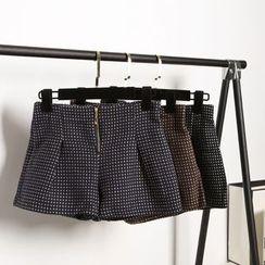SimplyMe - Wide Leg Woolen Shorts