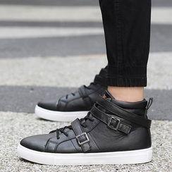 Preppy Boys - Buckled High-Top Sneakers