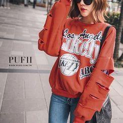 PUFII - 袖割破内刷毛字母T恤