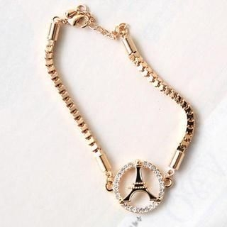 Cuteberry - Rhinestone Eiffel-Tower Bracelet