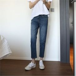 mayblue - Washed Straight-Cut Jeans
