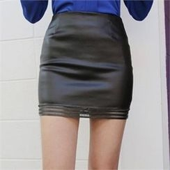 QNIGIRLS - Perforated-Hem Faux-Leather Mini Skirt