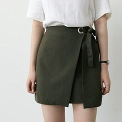 UPTOWNHOLIC - Band-Waist Wrap-Front Skirt
