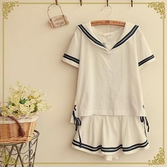 Fairyland - Set: Sailor Style Short-Sleeve Top + Miniskirt