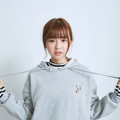 BAIMOMO - Long-Sleeve Embroidered Hooded Top