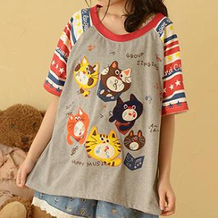 Moriville - Cat Appliqué Short-Sleeve T-Shirt