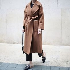 STYLEBYYAM - Wool Blend Wide-Collar Stitched Coat