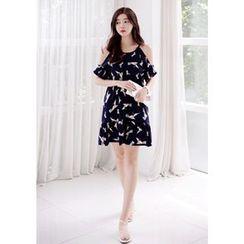 DEEPNY - Sleeveless Bird Print Mini Dress