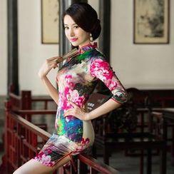 Miss Four Qipao - 3/4-Sleeve Floral Cheongsam