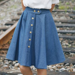 sansweet - Buttoned Denim A-Line Skirt