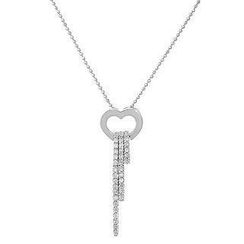 Keleo 18K White Gold Dangling Pendant with Diamonds
