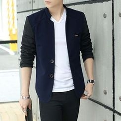 Evzen - Two-Tone Stand Collar Button Jacket
