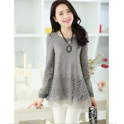 Saranghae - Long-Sleeve Lace Panel Top