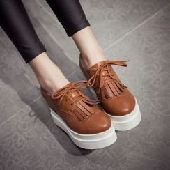 JY Shoes - Fringe Lace-Up Brogue Platform Shoes