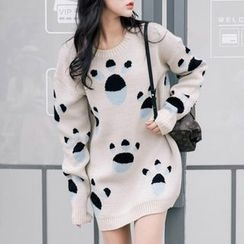 Isadora - Paw Print Long Sweater