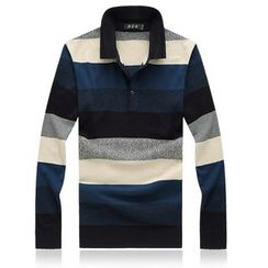 Riverland - Striped Knitted Polo Shirt