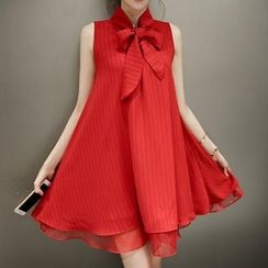 Cheer Mom - Maternity Bow-Accent Chiffon Dress