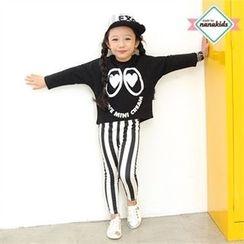 nanakids - Girls Set: Printed T-Shirt + Striped Leggings