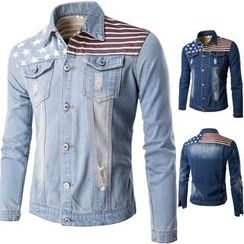 Fireon - American Flag Panel Distressed Denim Jacket