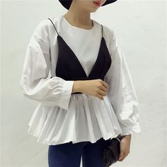 Octavia - Set: Pleated Blouse + Strappy Top