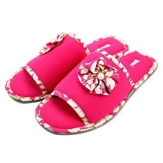 Betta - Ladies Open Toes Slippers (Jersey with Printed Flower)