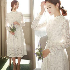 Ashlee - Mock Neck Long-Sleeve Midi Lace Dress with Sash
